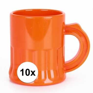 10 stuks oranje shotglaasjes 2,5 cl