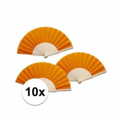 10 stuks oranje waaier van hout