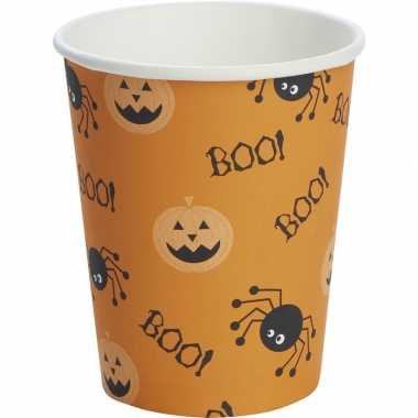 10x halloween thema bekers spin/pompoen 240 ml oranje