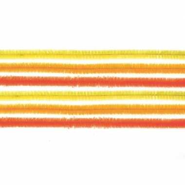 10x hobby chenille draad mix geel/oranje 50 cm