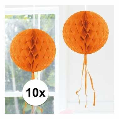 10x honeycomb ballen oranje 30 cm