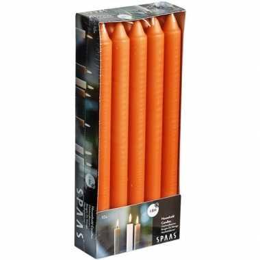 10x lange kaarsen oranje 24 cm 8 branduren huishoudkaarsen dinerkaarsen tafelkaarsen