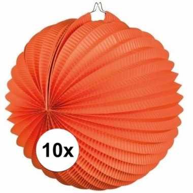 10x oranje lampionnen bolvormig