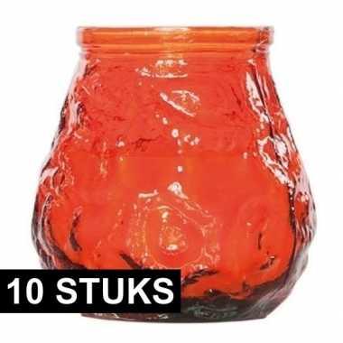 10x oranje lowboy tafelkaarsjes 17 branduren