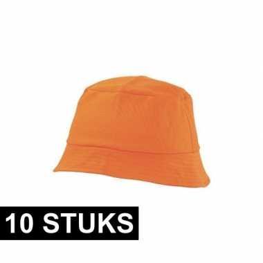 10x oranje vissershoedje 57-58 cm