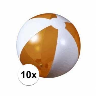 10x strandbal opblaasbaar oranje