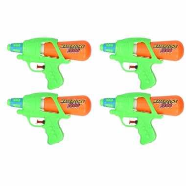 10x waterpistool/waterpistolen groen/oranje 20 cm