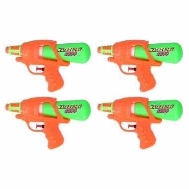 10x waterpistool/waterpistolen oranje/groen 20 cm