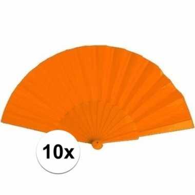 10x zomerse waaiers oranje 23 cm