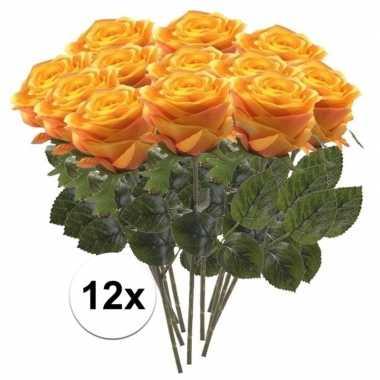12 x kunstbloemen steelbloem geel/oranje roos simone 45 cm