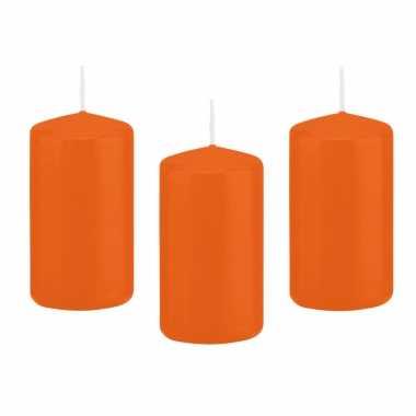 12x kaarsen oranje 6 x 12 cm 40 branduren sfeerkaarsen