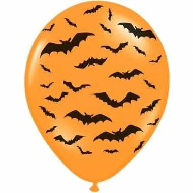 12x mat oranje ballonnen met zwarte vleermuis print 30 cm halloween f