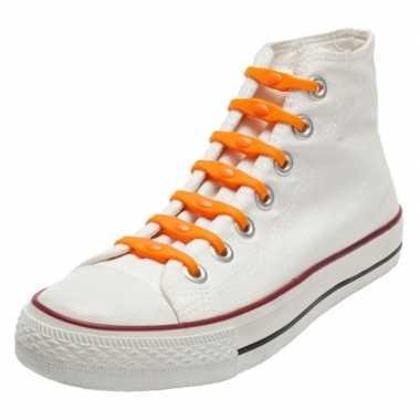 14x oranje supporter schoenveters elastisch/elastiek siliconen