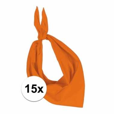 15 stuks oranje hals zakdoeken bandana style