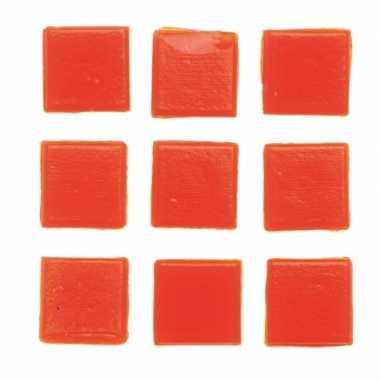 150x stuks vierkante mozaiek steentjes oranje 2 x 2 cm