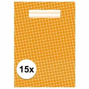 15x schoolspullen schrift a4 gelinieerd oranje