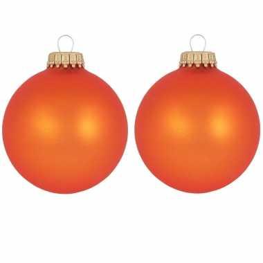 16x oranje matte kerstboomversiering kerstballen van glas 7 cm