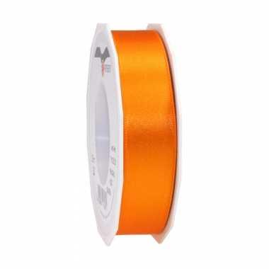 1x luxe oranje satijnen lint rollen 2,5 cm x 25 meter cadeaulint verpakkingsmateriaal