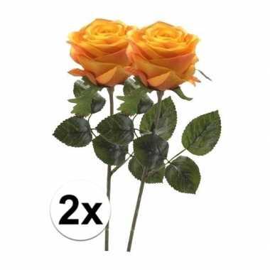 2 x kunstbloemen steelbloem geel/oranje roos simone 45 cm