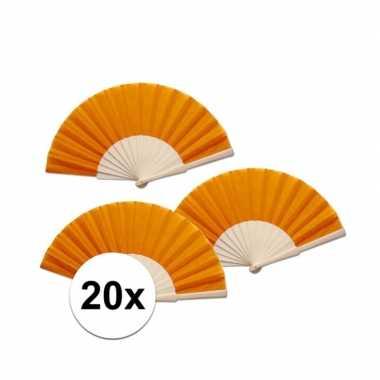 20 stuks oranje waaier van hout