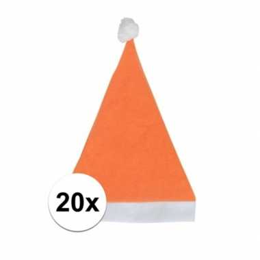 20x oranje budget kerstmuts voor volwassenen