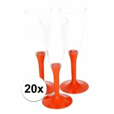 20x oranje champagne glazen