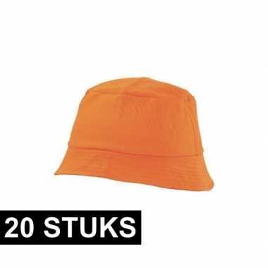 20x oranje vissershoedje 57-58 cm