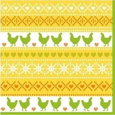 20x paasdecoratie servetten 33 x 33 cm geel/oranje/groen met kippen p