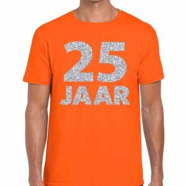 25e verjaardag cadeau shirt oranje met zilver voor heren