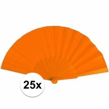 25x zomerse waaiers oranje 23 cm