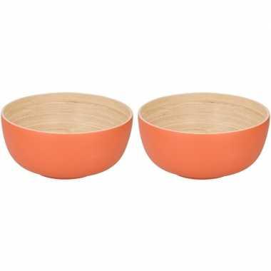 2x bamboehouten fruitschaal oranje 24 cm