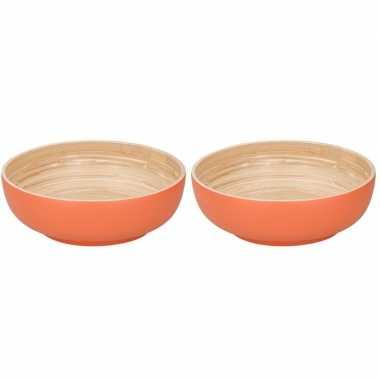 2x bamboehouten fruitschaal oranje 25 cm