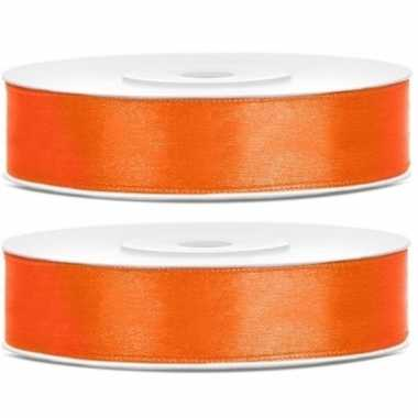 2x cadeaulint oranje 12 mm