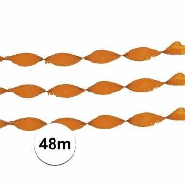 2x crepe papier slinger oranje 24 meter
