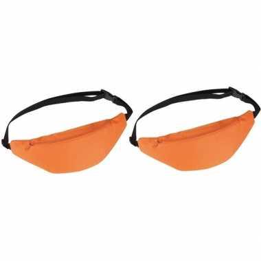 2x heuptassen/fanny packs oranje met verstelbare band