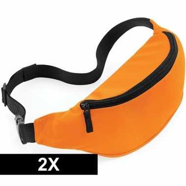 2x heuptassen oranje met verstelbare band