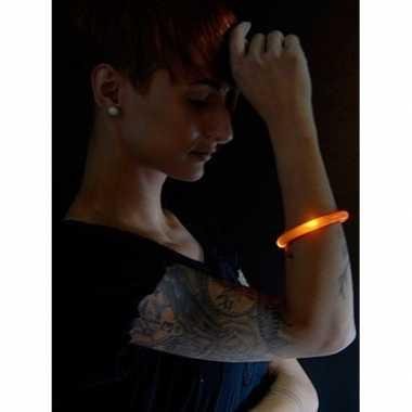2x lichtgevende armband oranje met led lampjes voor volwassenen