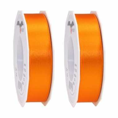 2x luxe oranje satijnen lint rollen 2,5 cm x 25 meter cadeaulint verpakkingsmateriaal