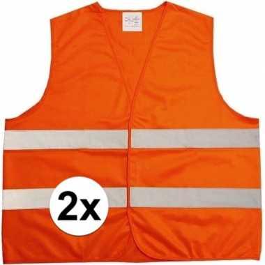 2x neon oranje veiligheidsvest voor volwassenen