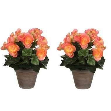 2x nep planten zalmroze begonia kunstplanten 30 cm met oranje bloemen en grijze pot
