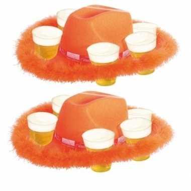 2x oranje bier hoed met bont