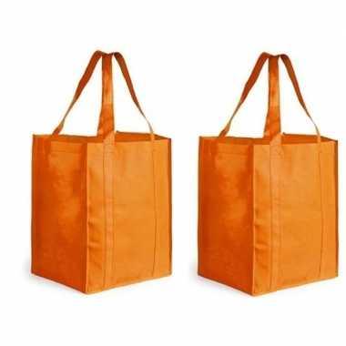 2x oranje boodschappentassen/shoppers 38 cm