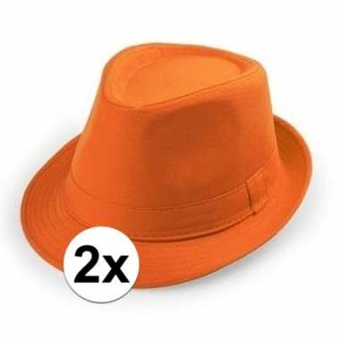 2x oranje hoedje trilby model voor volwassenen