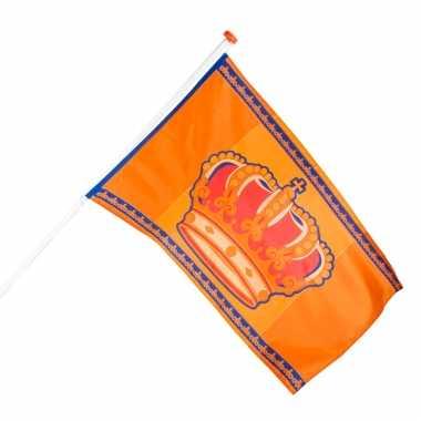 2x oranje koningsdag vlag 150 x 90 cm