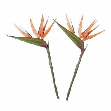 2x oranje kunst strelitzia/paradijsvogelbloem kunstbloemen 90 cm deco
