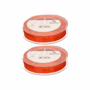2x oranje organzalint rollen 1,5 cm x 10 meter cadeaulint/kadolint verpakkingsmateriaal