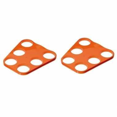 2x oranje plastic bier tray voor 6 glazen