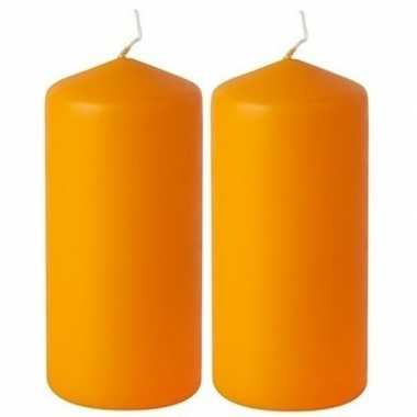 2x oranje stompkaars 20 cm 65 branduren