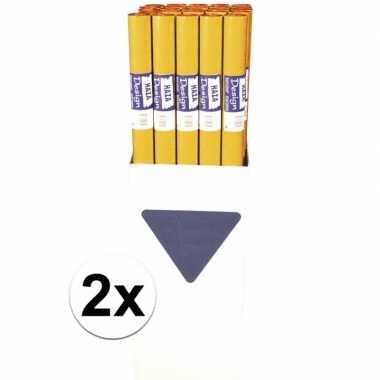 2x oranje tafelkleed van papier 800x118cm