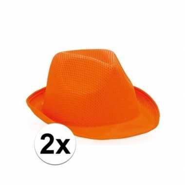 2x oranje trilby hoedjes voor volwassenen